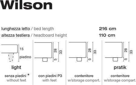 Letto Wilson giroletto altezza